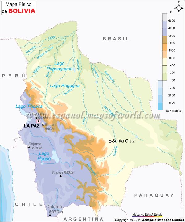 El Mapa Físico De Bolivia