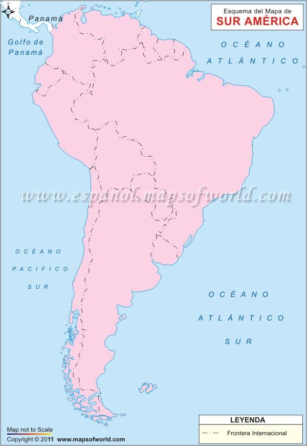 Mapa en Blanco de America del Sur