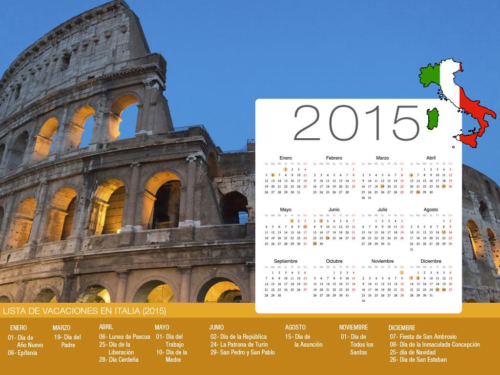 Calendario de vacaciones Italia-800x600