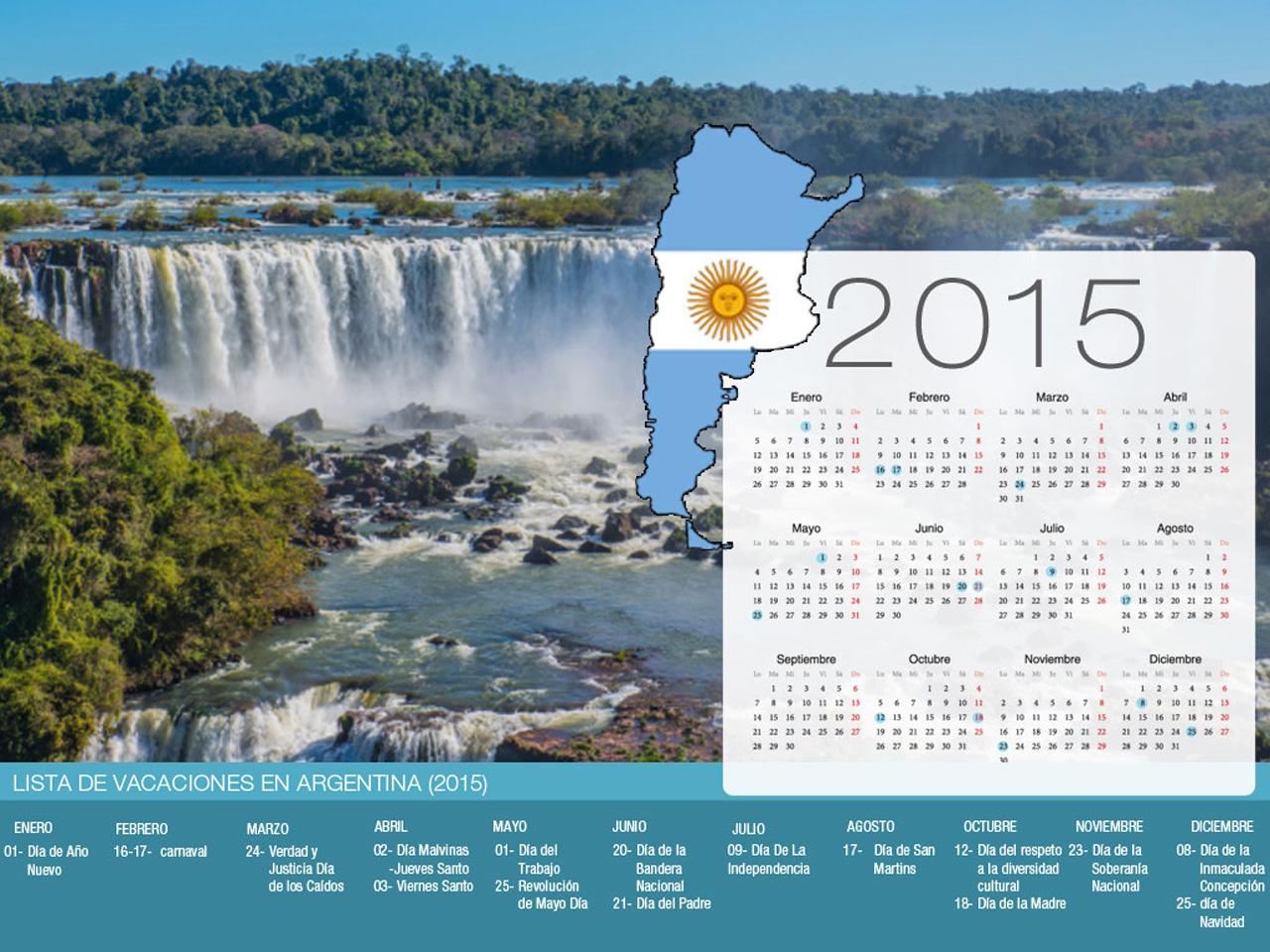 Calendario de vacaciones Argentina