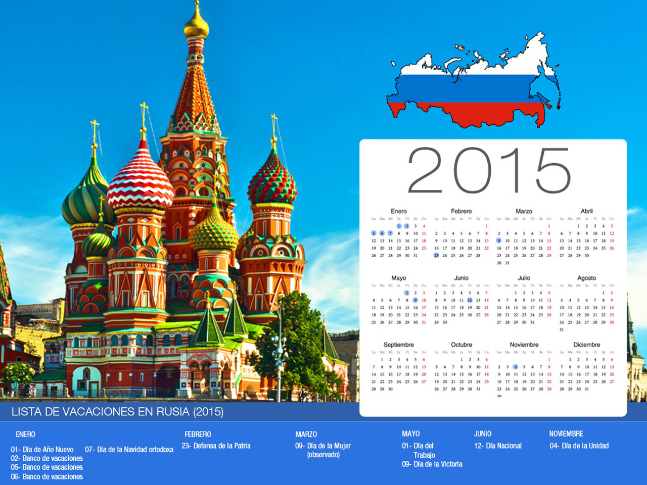 Calendario de vacaciones Rusia