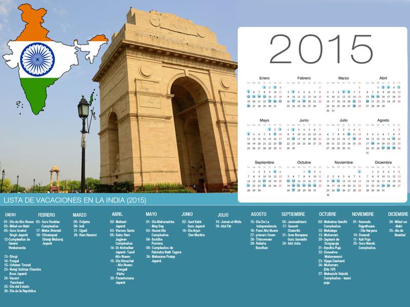 Calendario de la India de vacaciones-800x600