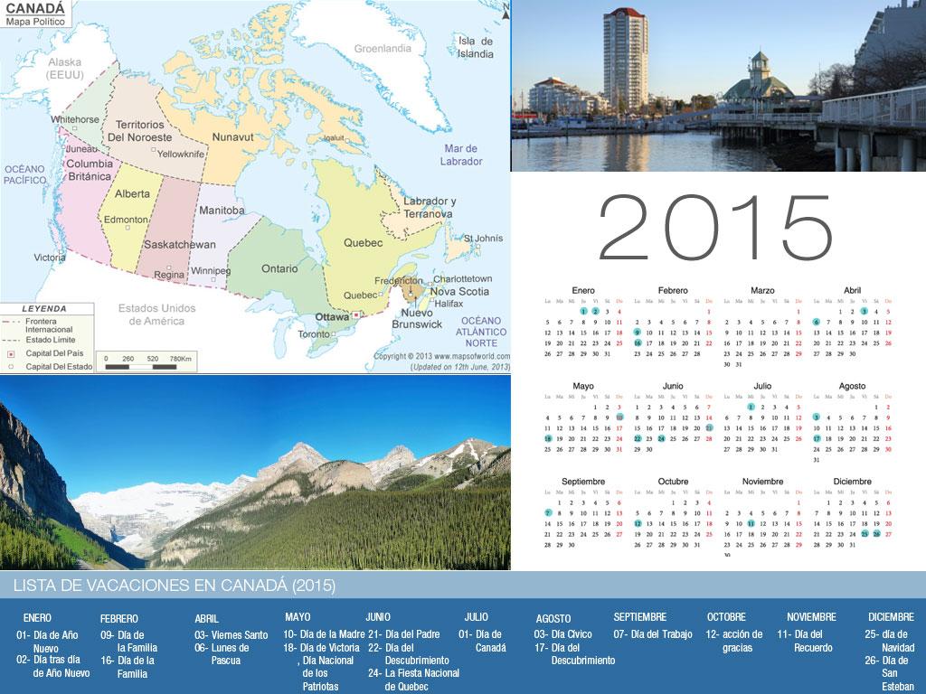 Calendario de vacaciones Canadá 2015-800x600