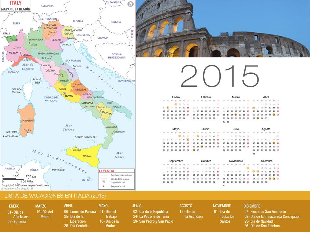 Calendario de vacaciones Italia 2015-800x600