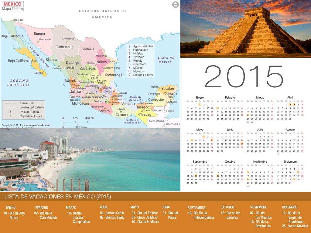 Calendario de vacaciones México 2015-800x600