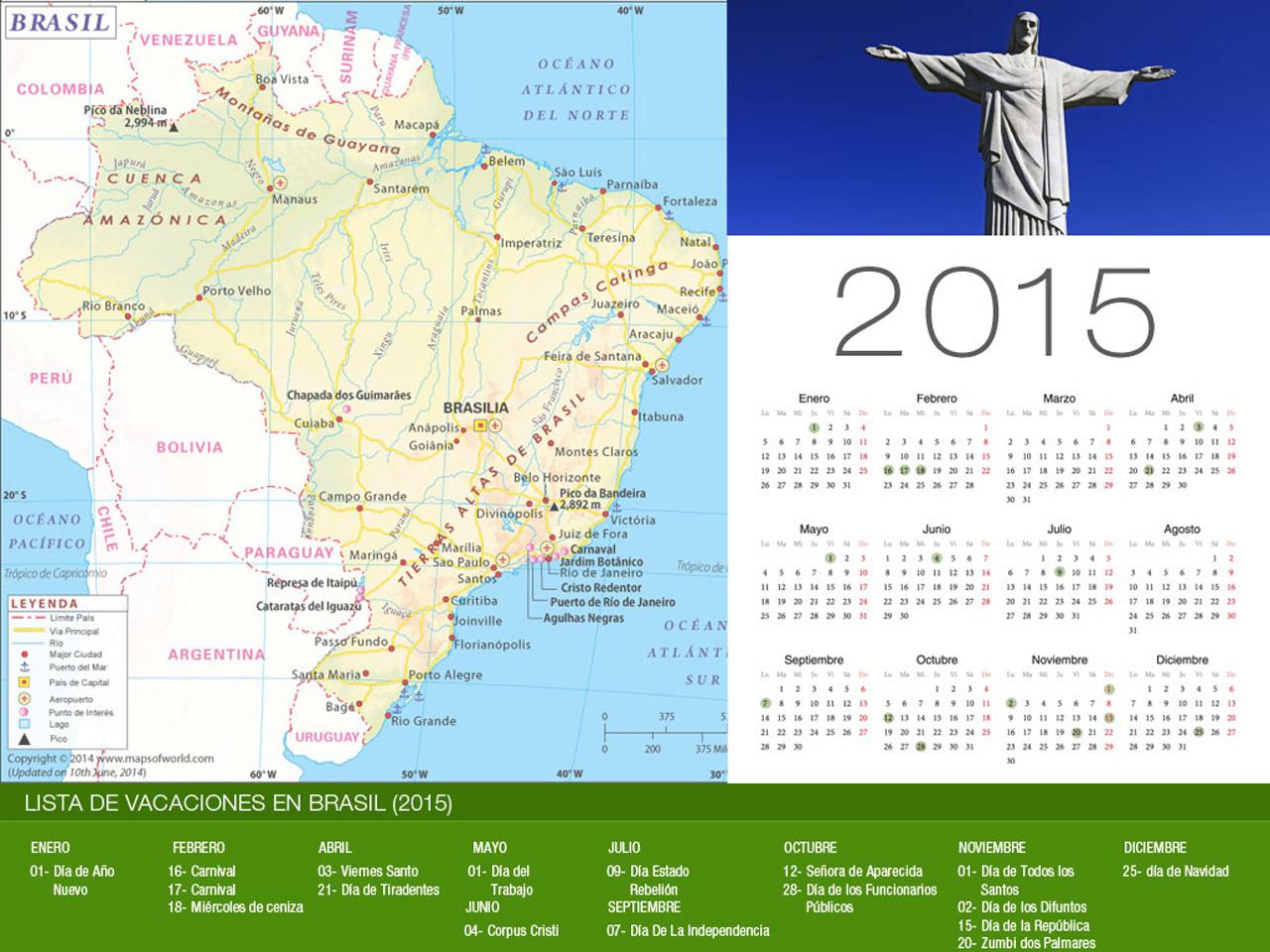 Calendario de vacaciones Brasil