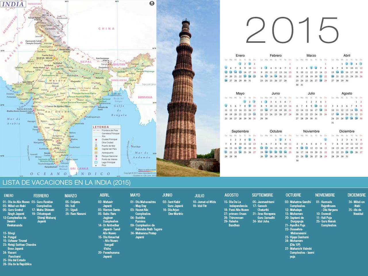Calendario de la India de vacaciones 2015-800x600