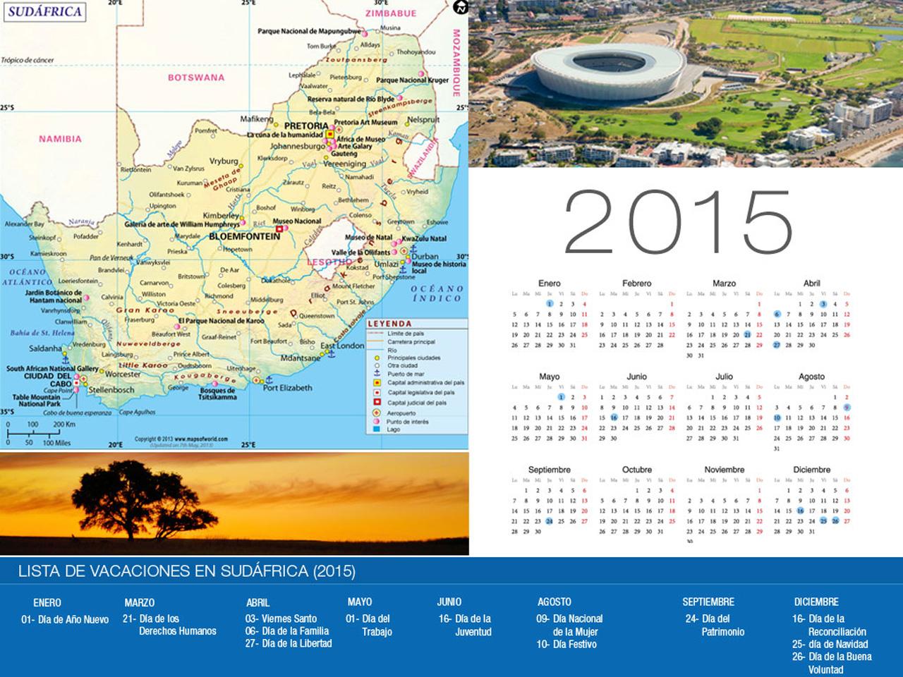 Calendario de vacaciones Sudáfrica 2015-800x600