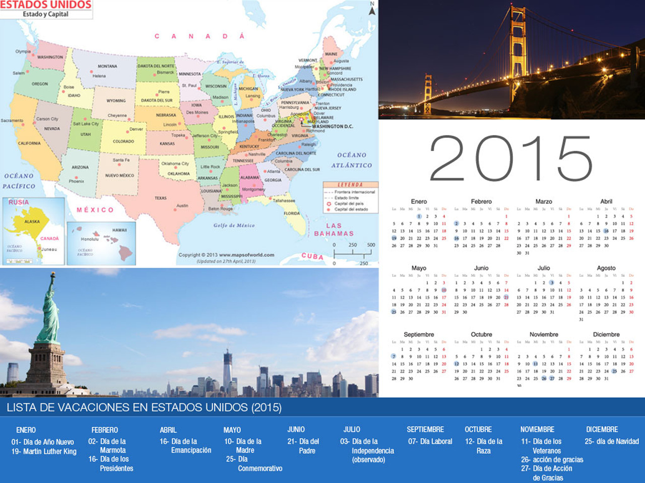 2015 Calendrier de Vacances aux Etats-Unis-800x600
