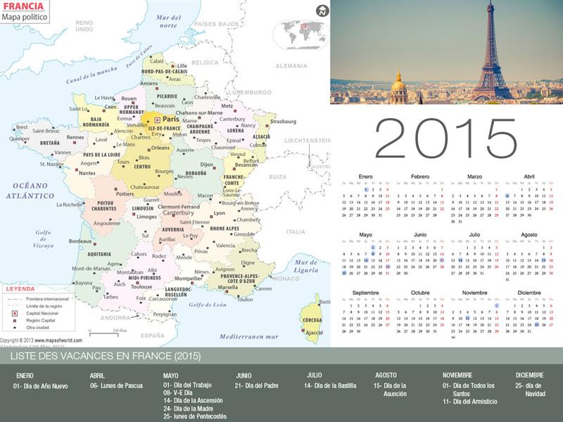 Calendario de vacaciones Francia 2015-800x600