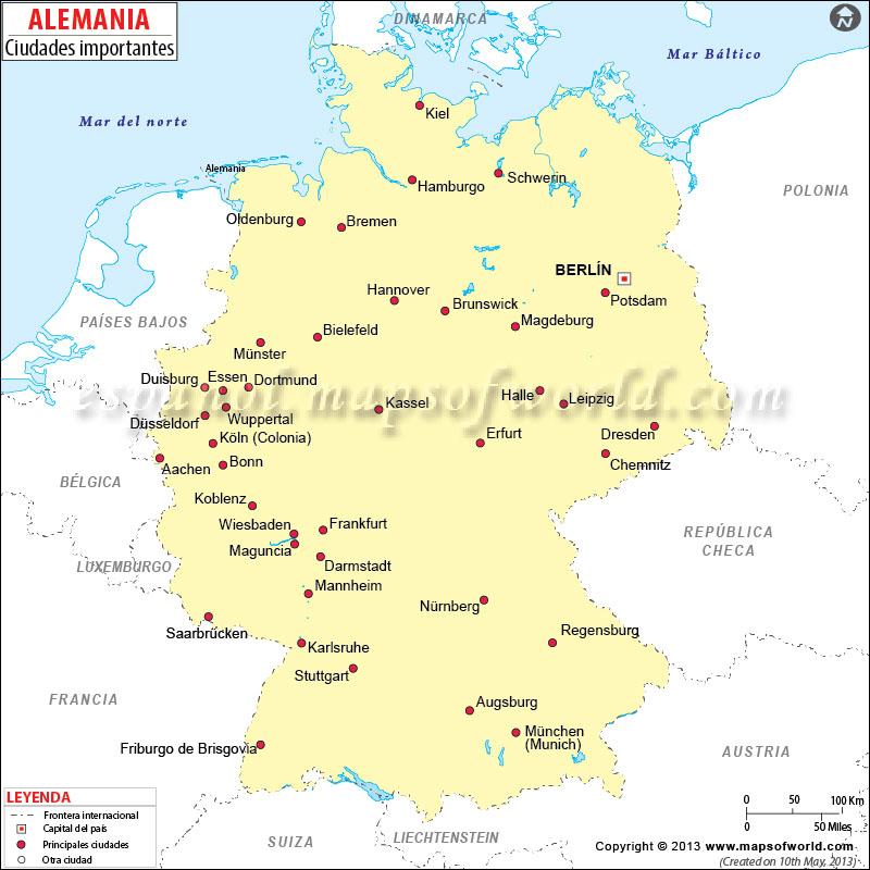 Mapa De Alemania Ciudades.Ciudades De Alemania