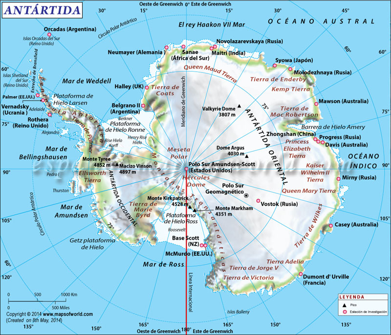 Mapa de Antartida