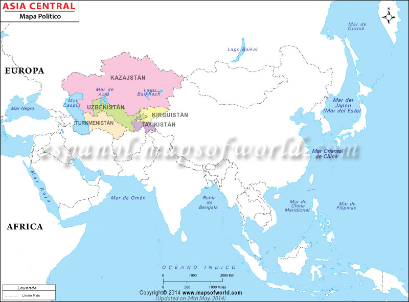 Mapa de Asia Central  Mapa Asia Central