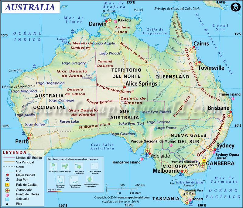Mapa de Australia  Mapa Australia