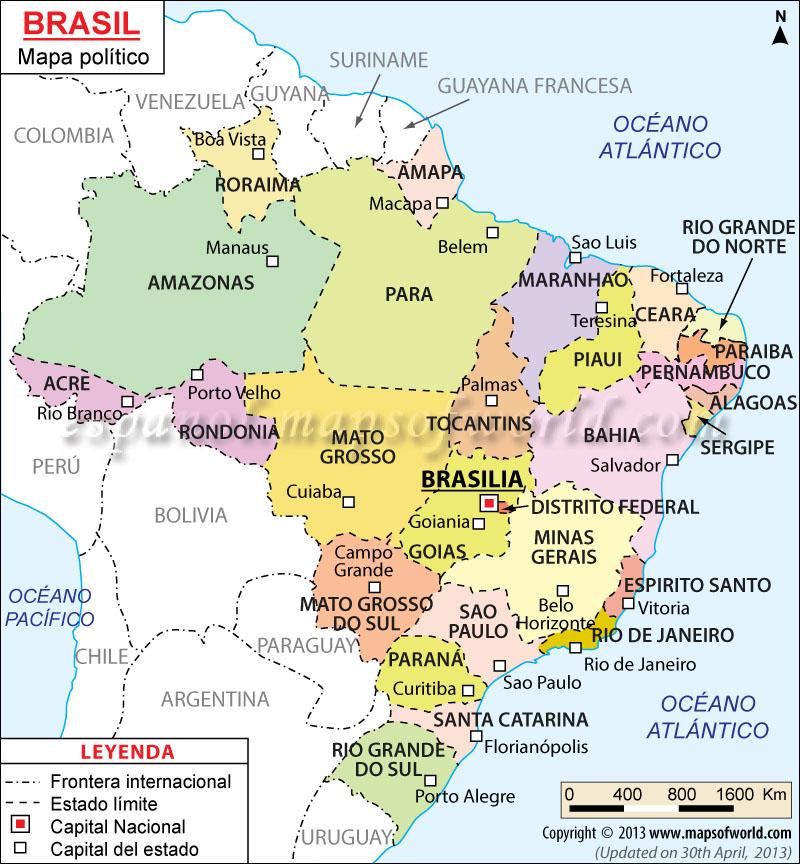 Brasil Mapa  Mapa Politico de Brasil