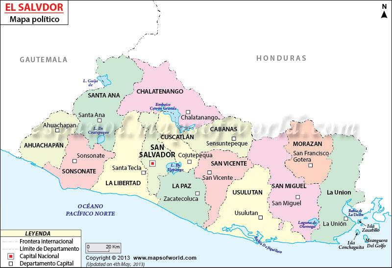 Mapa Politico de El Salvador  El Salvador Mapa Politico