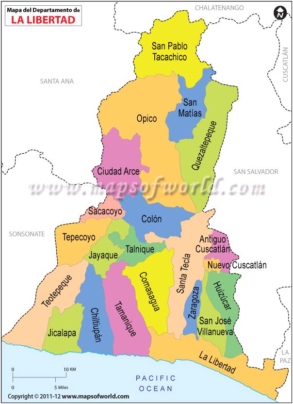 Mapa De La Libertad Departmento De La Libertad El Salvador