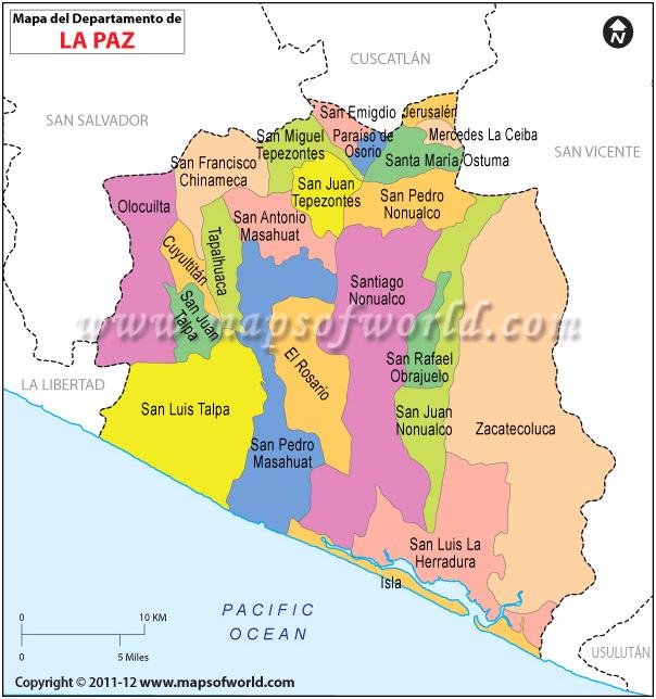 Mapa De La Paz Departmento De La Paz El Salvador