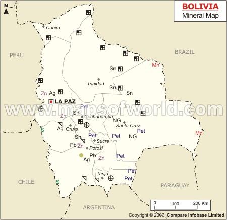 Mapa de Minerales de Bolivia