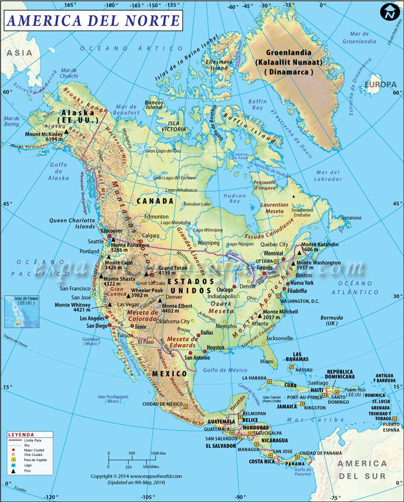 Mapa de America del Norte  Mapa de Norte America