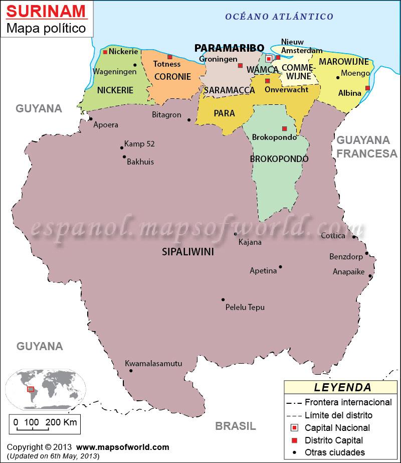 surinam mapa Surinam Mapa, El Mapa de Suriman surinam mapa