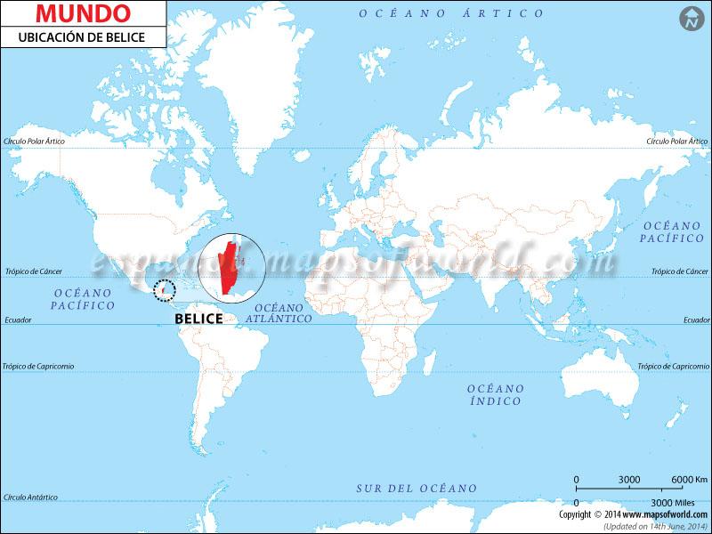 Mapa de Ubicacion de Belice