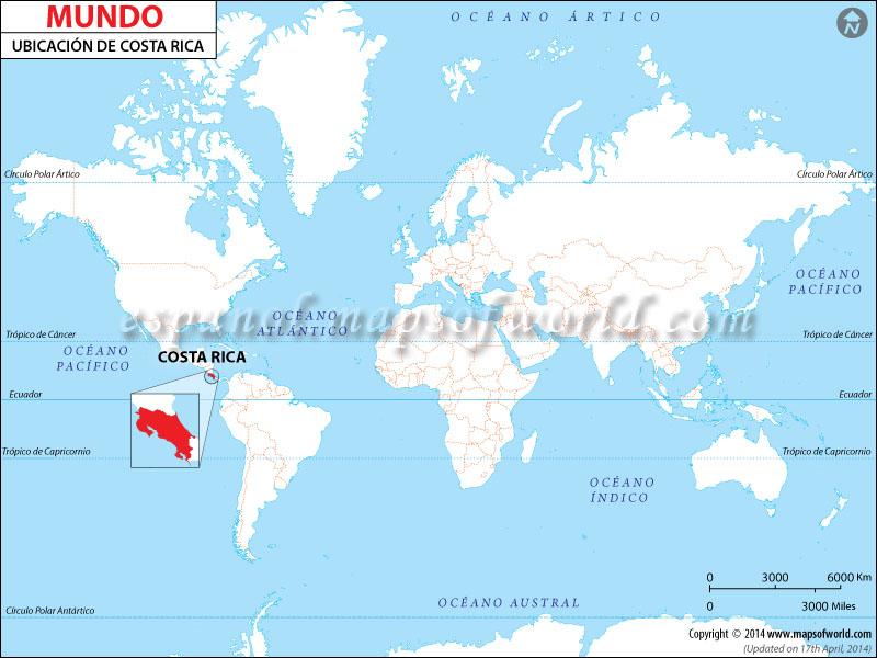 Mapa de Ubicacion de Costa Rica