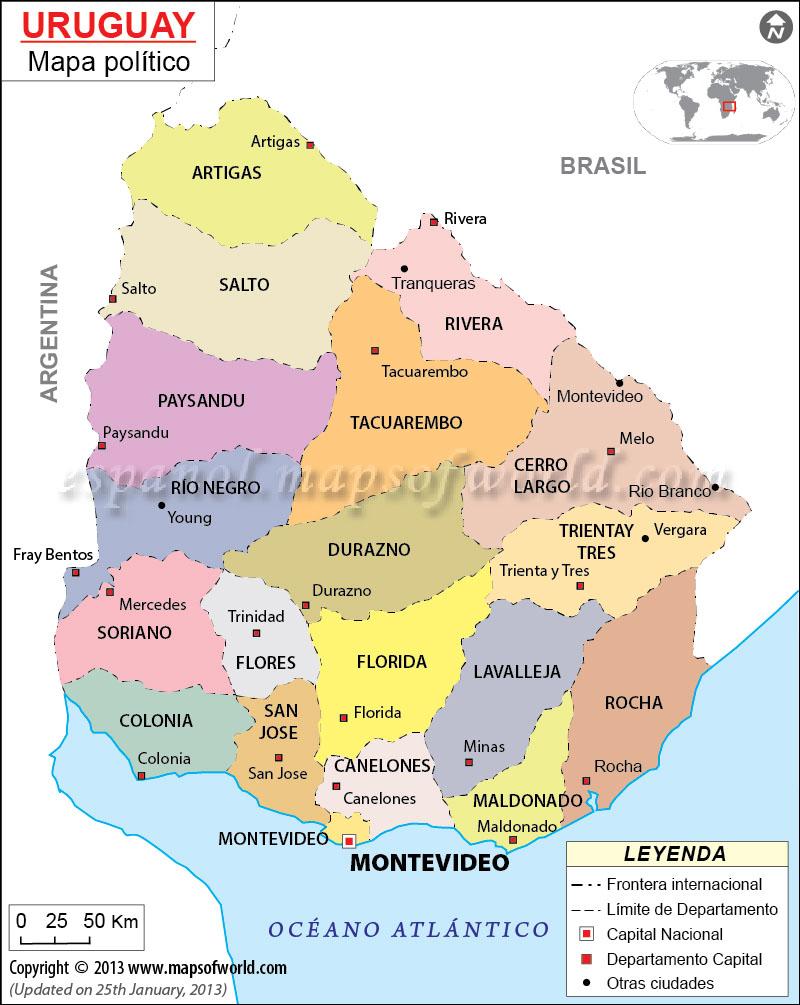 Mapa Politico de Uruguay