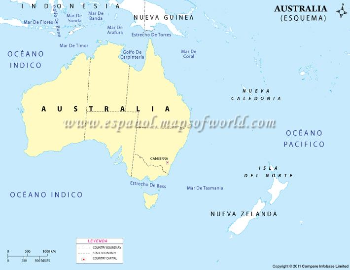 Mapa en Blanco de Australia  Contorno de Australia