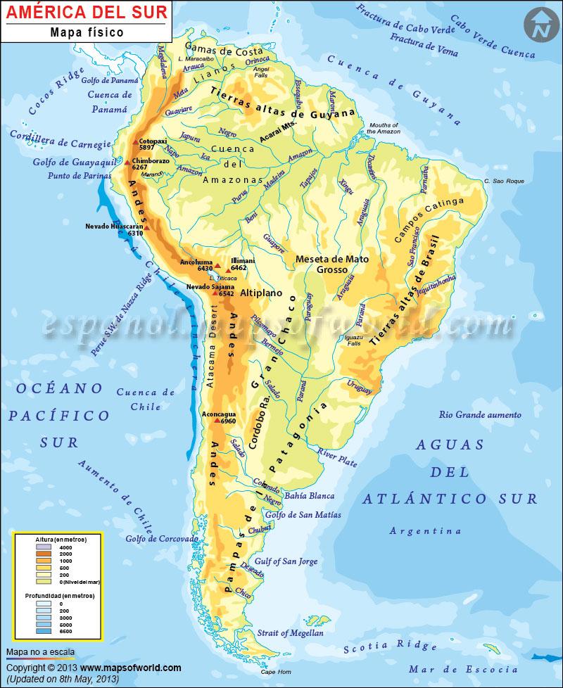 Mapa America Del Sur Con Nombres.Mapa Fisico De America Del Sur America Del Sur Mapa Fisico