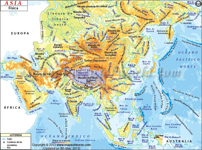 Mapa Fisico de Asia  Mapa Fisico Asia