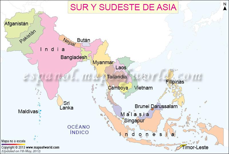 Mapa de Asia del Sur