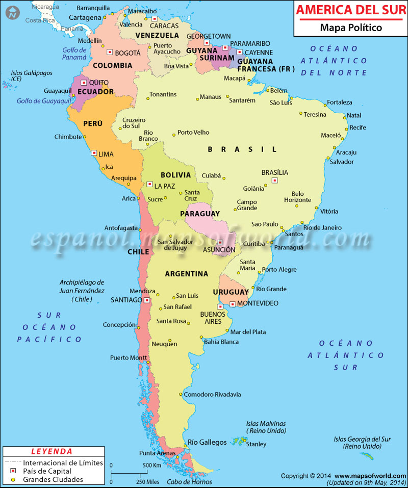 Mapa Politico de America del Sur  Mapa Politico America del Sur