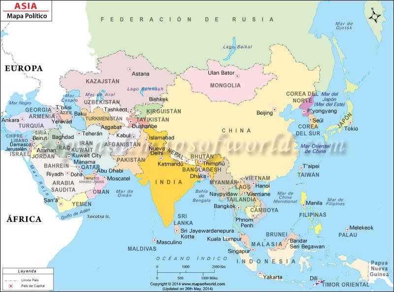 Mapa Politico de Asia  Mapa Asiatico