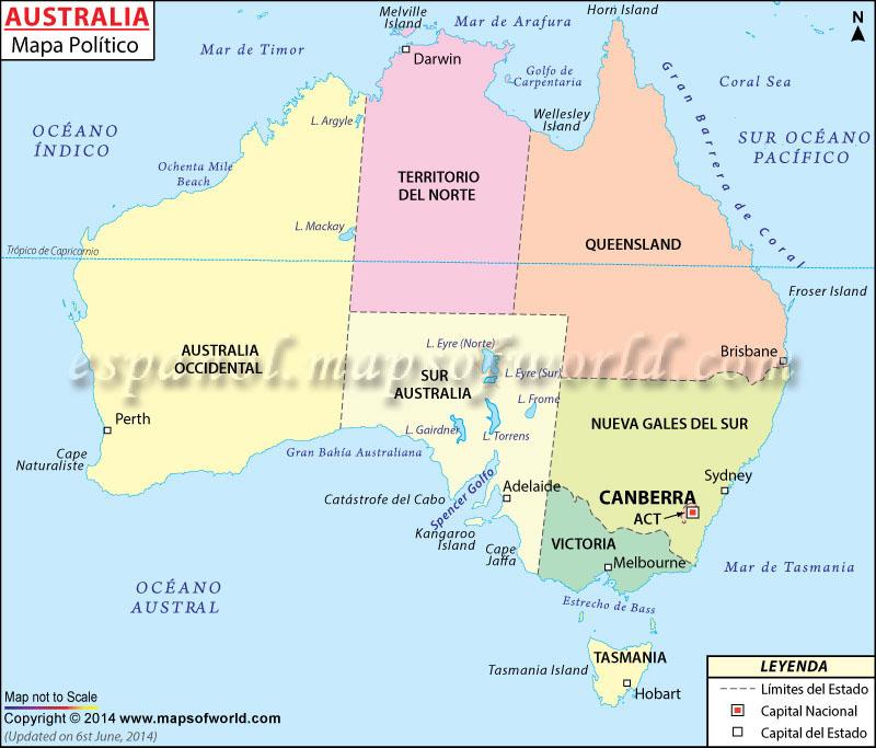 Mapa Politico De Australia Australia Mapa Politico