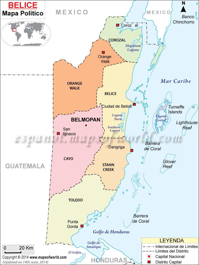 Mapa Politico de Belice