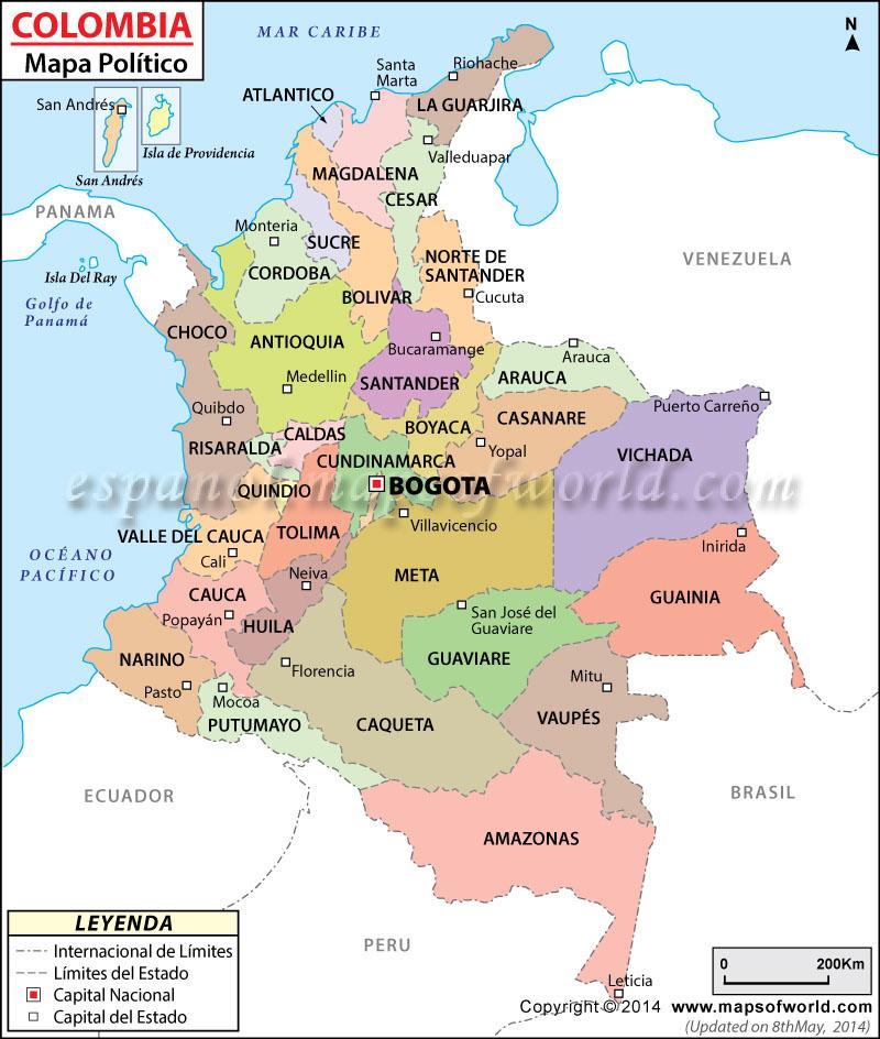 Mapa Politico de Colombia Colombia Mapa