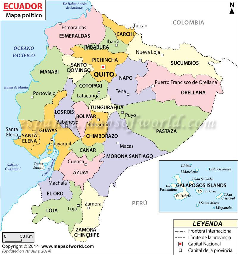 Mapa Politico de Ecuador  Mapa del Ecuador