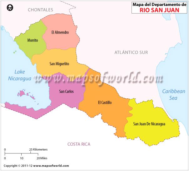 Mapa del Rio San Juan