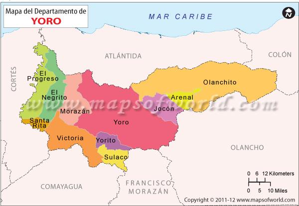 Mapa de Yoro  Honduras