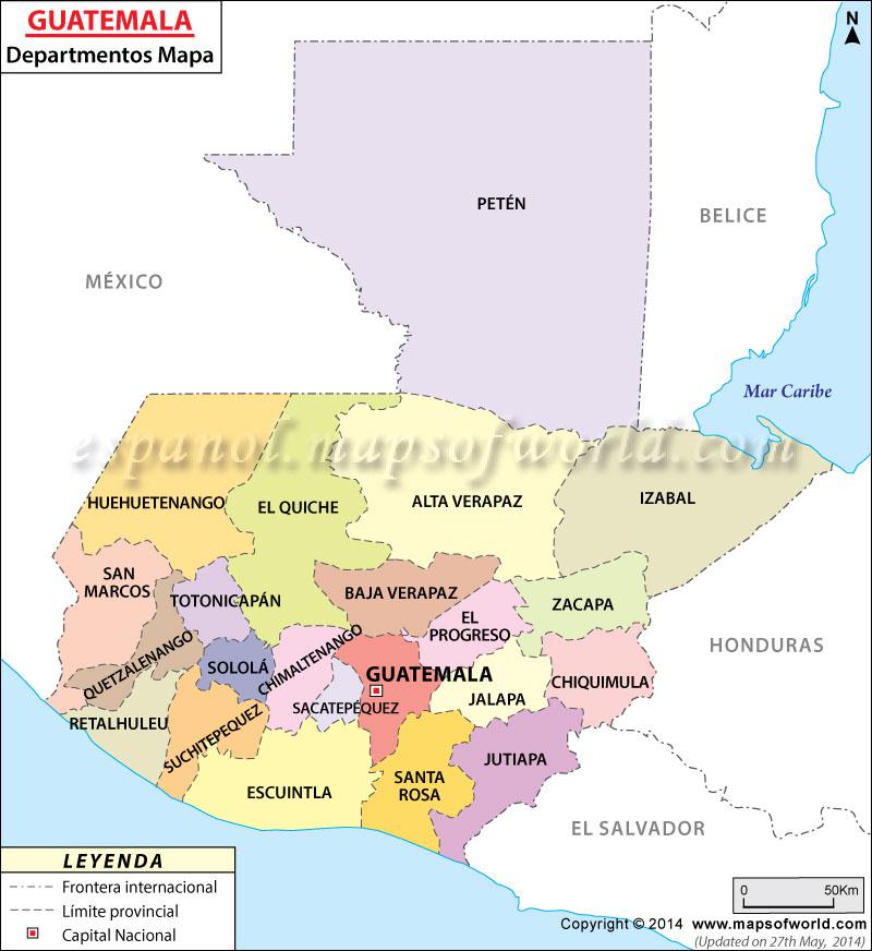 Mapa del Departamentos de Guatemala