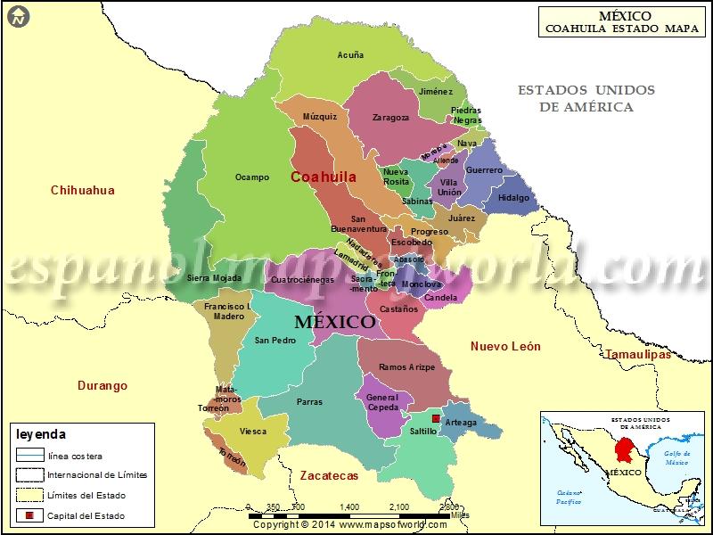 Mapa de Coahuila
