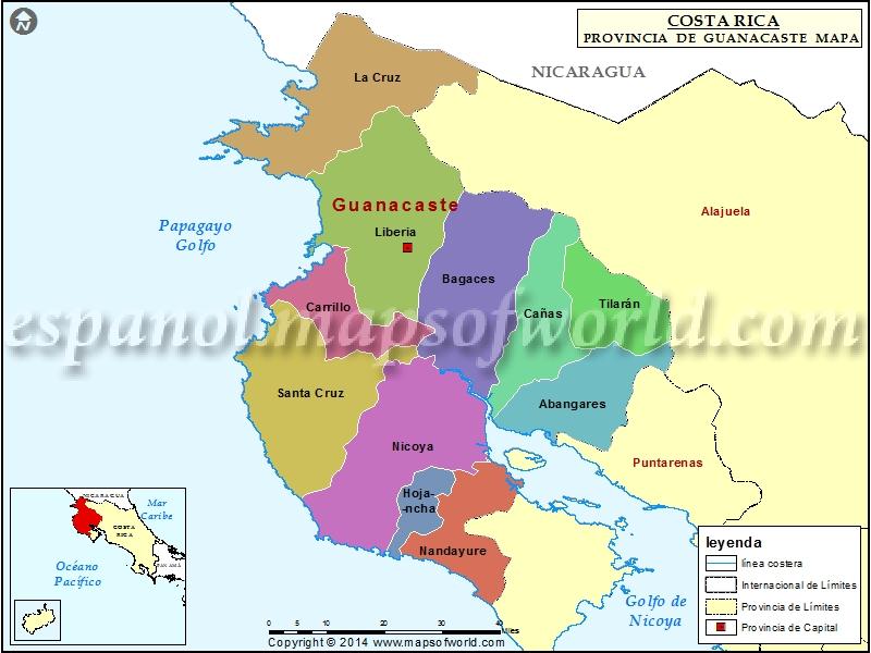 Worksheet. Mapa de Guanacaste  Provincia de Guanacaste Costa Rica