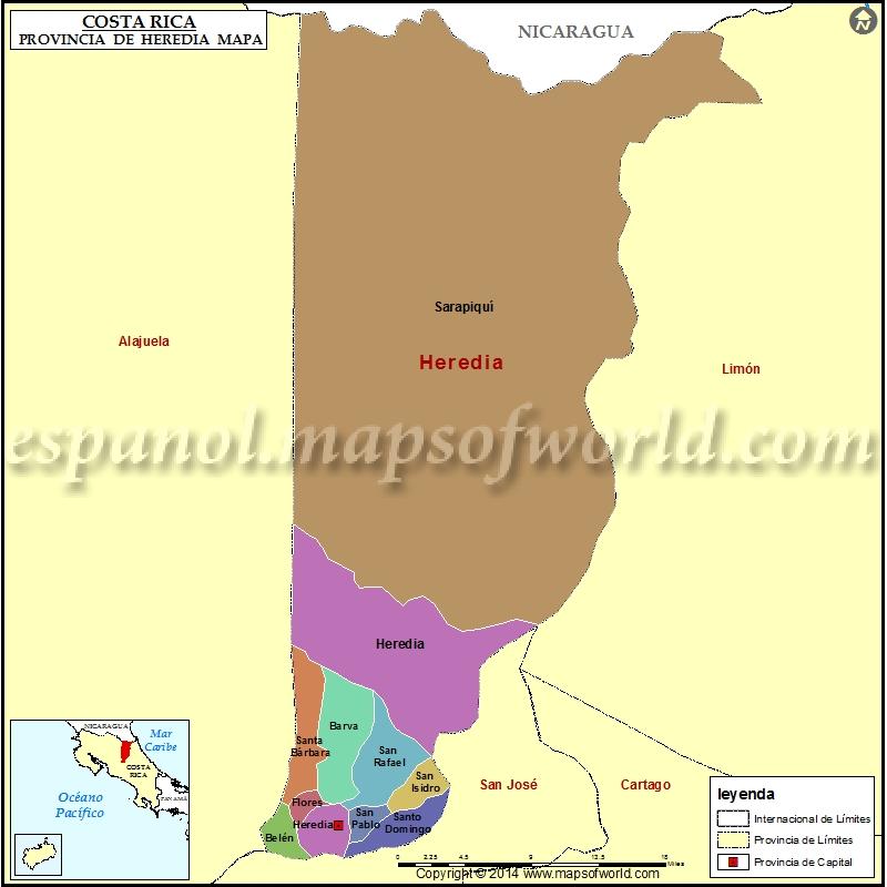 Mapa de Heredia