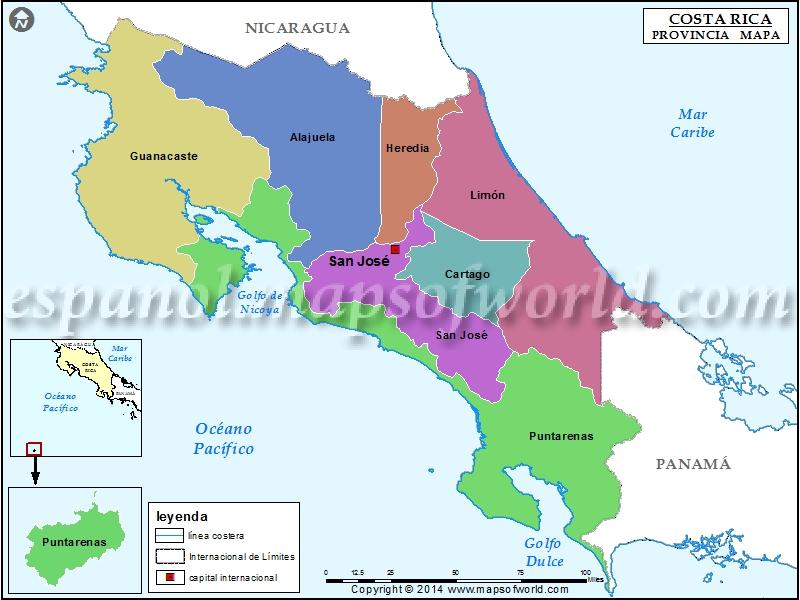 Mapa de las Provincias de Costa Rica  Provincias de Costa Rica
