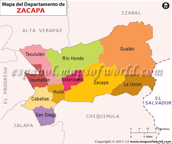 Mapa de Zacapa Departamento de Zacapa Guatemala