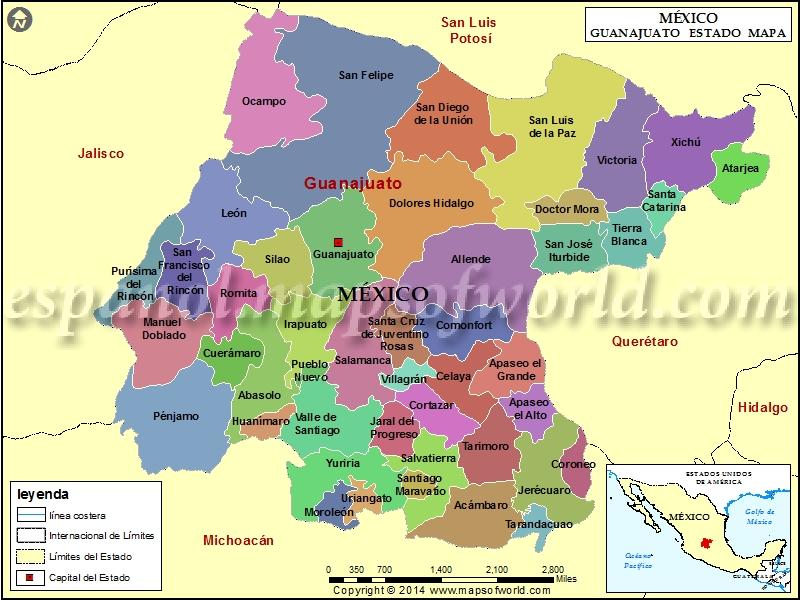Mapa de Guanajuato  Estado de Guanajuato Mexico