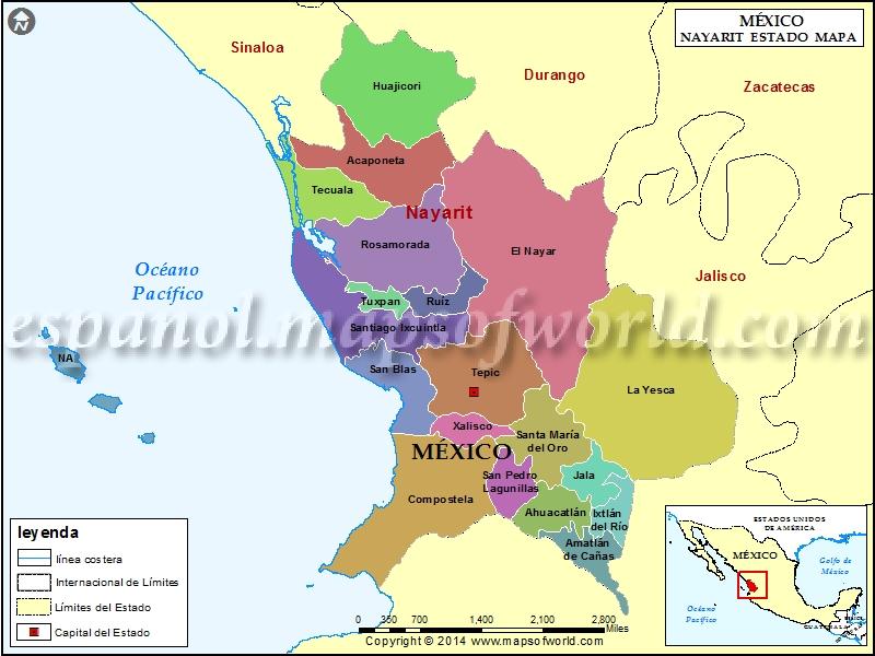 Mapa de Nayarit  Estado de Nayarit Mexico