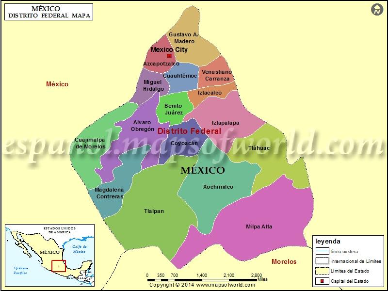 Mapa Del Distrito Federal Distrito Federal Mexico