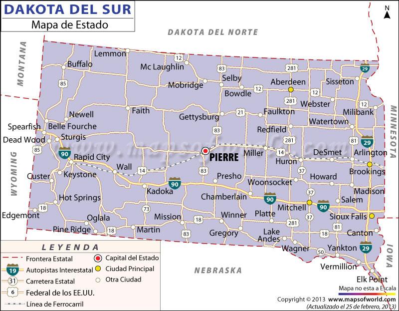 El Mapa del Estado de Dakota del Sur - Estados Unidos de America